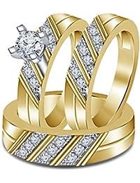 Silvernshine 1.35 Ct Diamond 3 Piece Trio Engagement Ring Set 14k Yellow Gold Fn .925 Silver