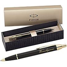 Parker IM–Bolígrafo con grabado) con caja de regalo (Color–Negro Oro)