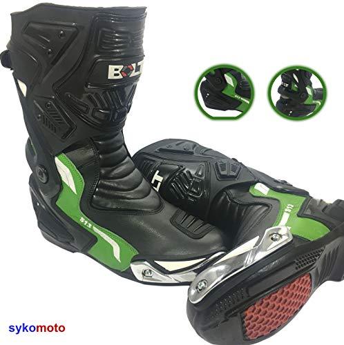 VIPER RIDER Stivali da Moto Uomo Impermeabile RINFORZATI Pista Strada da Corsa in Pelle Traspirante Verde (EU 42)