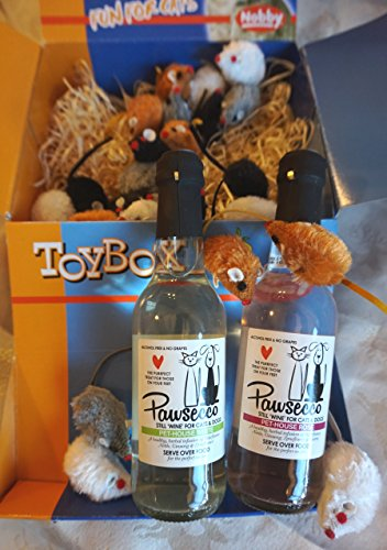 CAT CHRISTMAS GIFT BOX WITH CATNIP MICE AND PAWSECCO CAT WINE