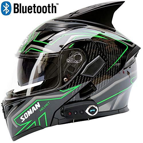 Casco moto Bluetooth Casco uomo Smart Anti-Fog D.O.T Doppia visiera Risposta automatica Flip multifunzione Caschi integrali,L