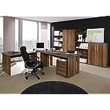 Büro Saturn, Büromöbel Set 8-tlg. Dekor Walnuß, Komplettbüro, Heimbüro, Büroeinrichtung