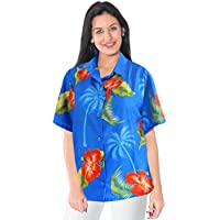 donne beachwear regali bottone gi� camicia camicia hawaiana a maniche corte aloha signore blu