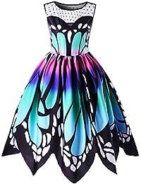 OverDose Damen boho ärmellos sommerkleid Frauen Sleeveless Schmetterlings Drucken Asymmetrie Bügel Kleid Butterfly tube kleid strandkleider partykleid abendkleid minikleid (EU36, A-Multicolor)