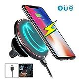 Kobwa - Chargeur QI sans fil et support magnétique pour téléphone - Pour voiture - Forte succion - Stable - Pour Samsung Galaxy Note 8, S8, S8 +, S7, S7 Edge, Note 5, S6 Edge Plus, iPhone X, iPhone 8, 8 Plus.