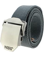 VANKER Nuevo Pretina de las correas de lona hebilla automática cinturón de cintura para hombres mujeres -- gris oscuro