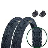 Paar Fincci Reifen für BMX oder Kinder Fahrrad 20 x 1.95 52-406 und Autoventil Schläuche 48mm
