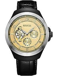 SEWOR reloj para hombre vestido de Tourbillon mecánico automático de color negro y plateado funda de piel Para Muñeca relojes esfera de color oro