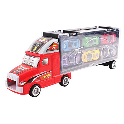 deAO Étui Porte-Voiture avec Conception de Camion Convoyeur - Transporteur du Véhicule avec Assortiment de 6 Voitures Inclus