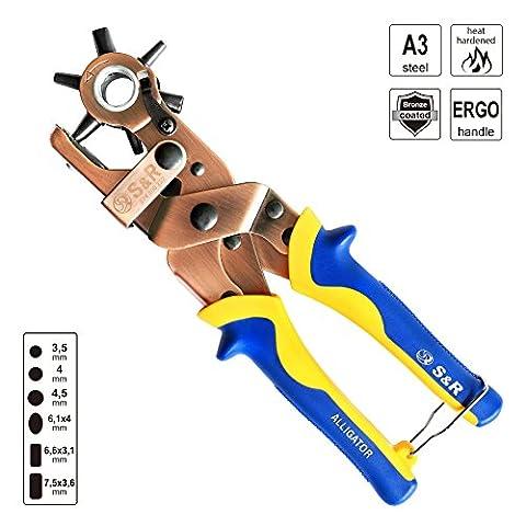 ALLIGATOR Hebel-Lochzange OVAL und RUND Revolver-Pfeifenzange mit Hebel-Übersetzung 3 RUNDEN 3,5-4-4,5 mm und 3 OVALEN Lochpfeifen: 6,1 x 4,0 mm, Rechteckige: 6,6 x 3,1 mm, 7,5 x 3,6 mm