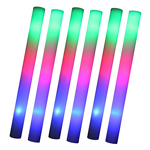 S/O® Lot de 6 LED Party Stick bâton 47 cm Polystyrène 3 Fonction Party mousse Clé incl. Piles Leuchten comme Illumination Glow Sticks
