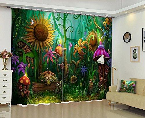 Tende per bambini blackout 3d cartoon pianta finestra, camera da letto soggiorno decorazione, wide 150x high 166 (wide 75x2)