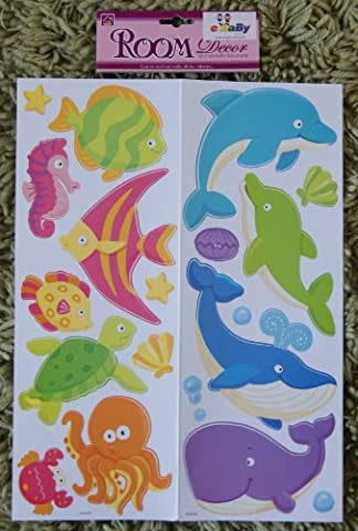e-baby-store 3D 3 Dimensional Sea Fish Whale Seahorse Underwater Wall, Furniture Stickers For Nursery, Childrens, Baby, Childs, Kids, Boys, Girls, Bedroom, Playroom. Decals, Stickarounds, Murals, Wallpaper, Adhesives.