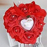 SimpleLife Romantique Rose Faveurs De Mariage en Forme De Coeur Strass Cadeau Anneau Boîte Coussin d'oreiller
