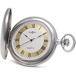 Bouverat 1919 Brushed Satin Case Full Hunter Quartz Roman Pocket Watch with Silver Dial BV821201