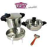 Schnellkochtopf Set 6tlg. von GSW 6 L + 3 L Edelstahl Einsatz BIOSTAR Kochtopf + Sparschäler