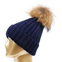 HMILYDYK Moda Mujeres Invierno cálido de Punto Beanie Gorro de Pelo  sintético Gorro de Pom Pom 67a958d2372