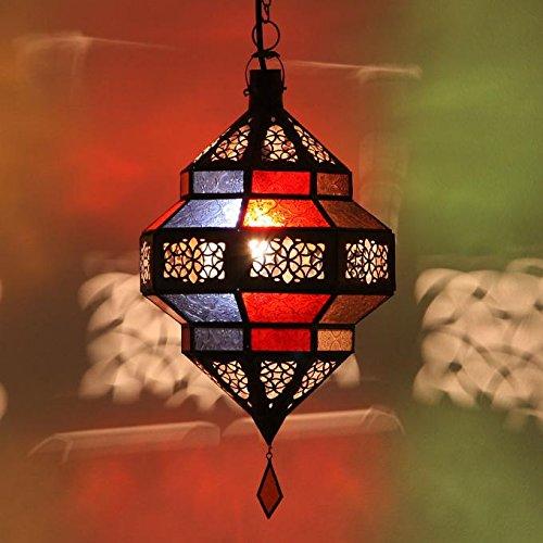 Orientalische Pendelleuchte Marokkanische Lampe | Echtes Kunsthandwerk aus Marokko wie aus 1001 Nacht | Hängelampe Leuchte Pendellampe Laterne | Maha Multifarbig