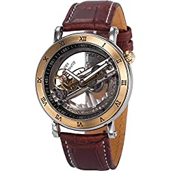 AMPM24 Mens PMW416 Analog Mechanical Skeleton Dial Brown Leather Band Wrist Watch + AMPM24 Gift Box