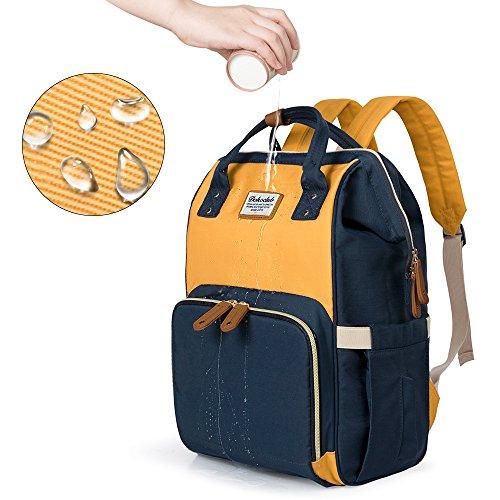 LUKATU Wickeltasche Rucksack, Organizer Baby Rucksack mit Kinderwagen Straps, isolierte Taschen, Multifunktions wasserdichte Anti-Diebstahl-Reisetaschen (Banane hellgrau)