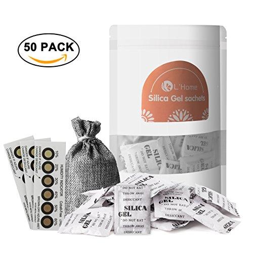 5 g × 50 pack L \'home Silica Gel Beuteln Trockenmittel packets-regenerative (gratis Tasche und drei Luftfeuchtigkeit Karten)