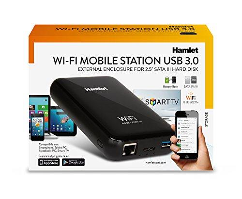 Hamlet wi-fi mobile station box esterno wireless per hard disk sata 2,5'' con caricabatterie