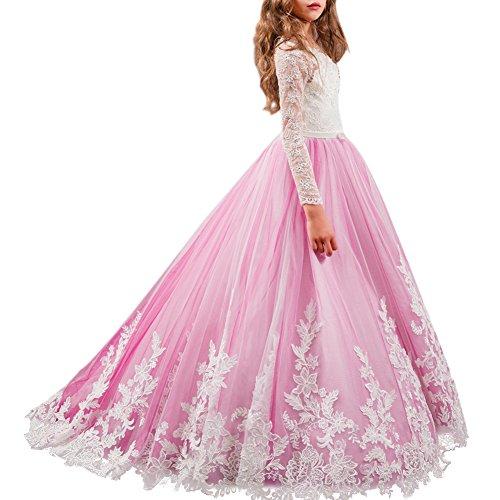 OBEEII Mädchen Kleid Prinzessin Kleid Partykleid Festlich Hochzeits Blumenmädchen