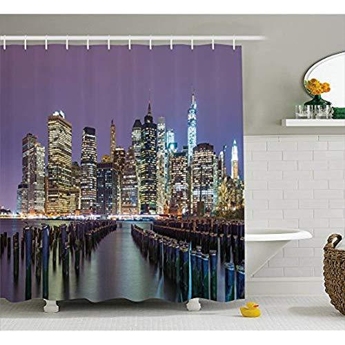 Lower Manhattan Skyline (Yeuss New York City Duschvorhang von Lower Manhattan Skyline über den East River Vereinigte Staaten von Amerika, Stoff Badezimmer Dekor Set mit Haken, Lila Gelb 72 'x72')