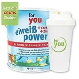 for you Power Eiweiß nach Strunz Erdbeer-Rhabarber 750g I Fitness Eiweisspulver mit Carnitin Whey-Protein Sojaprotein Milchprotein I Mehrkomponenten Protein Eiweißpulver mit Eiweiss Shaker Becher