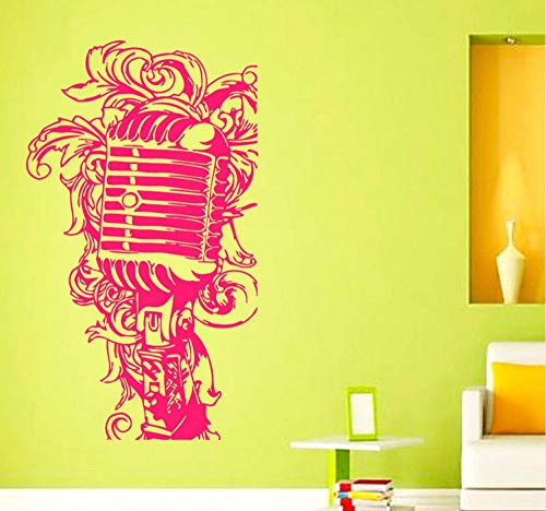 Hanjiming Musik Mikrofon In Einem Floralen Stil Interior Design Home Decor Wand Vinyl Kunst Wandbilder Kinder Kinderzimmer Baby Zimmer Wandtattoo Aufkleber Floral Musik