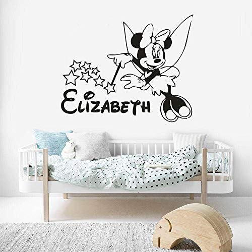 Geiqianjiumai Märchen Stil Cartoon Maus Vinyl Wand Mädchen Schlafzimmer Dekoration Name Baby Wandaufkleber 50.4 cm x 40.8 cm