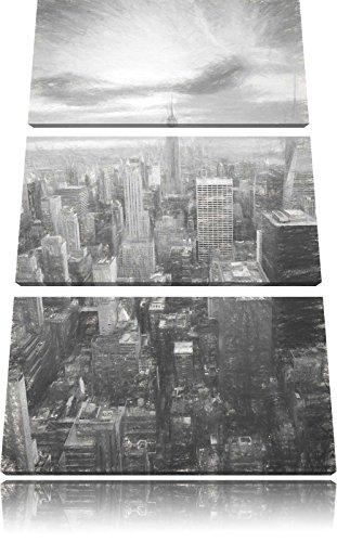 Visualizza immagine Elicottero immagine tela Manhattan effetto disegno a carboncino 3 pezzi 120x80 di su tela, XXL enormi immagini completamente Pagina con la barella, stampe d'arte sul murale cornice gänstiger come la pittura o un dipinto ad olio, non un manifesto o un