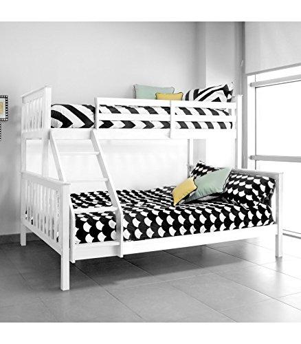SzSuárez Litera Infantil Wendy Madera Maciza Color Blanco 201,5 cm Ancho x 150 cm Alto x 159,5 cm Fondo Incluye 2 somieres.