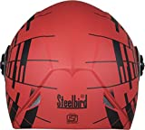 #5: Steelbird Mens ISI Certified Stylish Graphic Helmet - SB-41 Oscar Matrix with Plain Visor (Large 600Mm, Sport Red with Black)