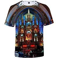 Impresión 3D Camiseta Gran Tamaño Suelto Tee Notre Dama Delaware París Impresión Camiseta Unisexo/gris/XS