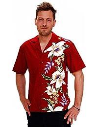 KY's| Chemise Hawaïenne D'Origine | Pour Hommes | S - 8XL | Manche Courte | Poche Avant | Hawaiian-Imprimer | Fleurs | Rouge