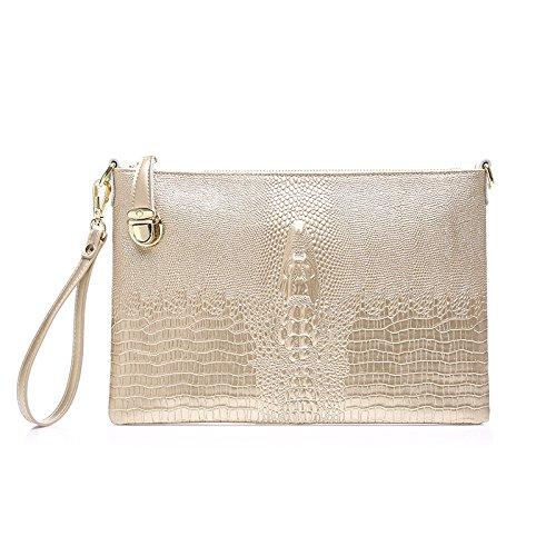 WenL Echtes Leder Clutch Bag Krokodil Muster Damen Schulter Diagonal Abendtasche Für Weihnachten,ChampagneGold