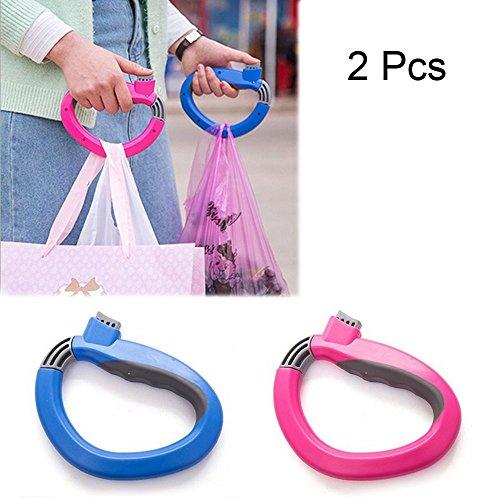 Lezed Einkaufstasche Griff,Tragbar Silikon Griff,Gegenstands-Extraktionshelfer D-Typ,Haustier Seil Griff Ring(2 Pcs)