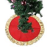 Homclo - Coperta per Albero di Natale a Forma di Cerchio con Albero di Natale, 90 cm, Colore: Rosso Opaco e Oro