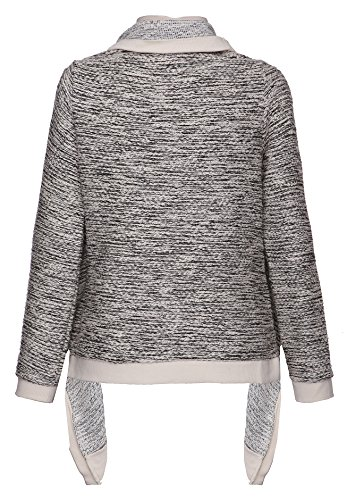 khujo - Pull - À Rayures - Manches Longues - Femme Gris - beige-schwarz (120 IVORY)