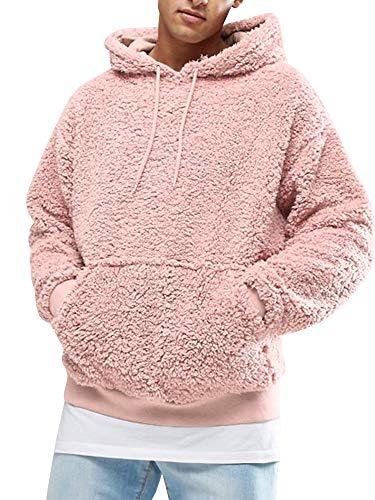 Gemijacka Herren Kapuzenpullover Plüsch Hoodie Sweatshirt Teddy-Fleece Mit Taschen -