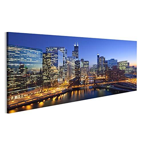bilderfelix® Bild auf Leinwand Stadt von Chicago Bild von Chicago Downtown und Chicago River mit Brücken während des Sonnenuntergangs Wandbild, Poster, Leinwandbild MTF