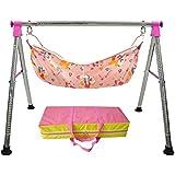 WESTTURN Foldable Stainless Steel Baby Cradle-Pink