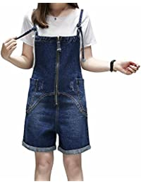 f46a6dd29c4 Elwow Women s Summer Plus Size Stretch Denim Pinafore Dungarees Shorts Dress  Jumpsuit