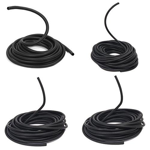 KUNSE 100Ft Split Wire Loom Conduit Sleeve Tube Polyethylene Black Heat Resistant-19mm -