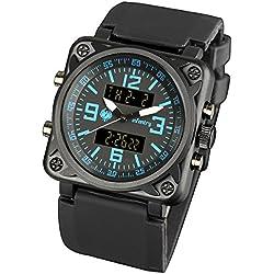 INFANTRY® Mens Analogue - Digital Wrist Watch Chronograph Blue Alarm Sport Black Rubber Strap