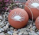 Tierurne - Kugel mit Sonnenmotiv aus frostfester Keramik, Terra, Vol. ca. 1,00 Ltr.