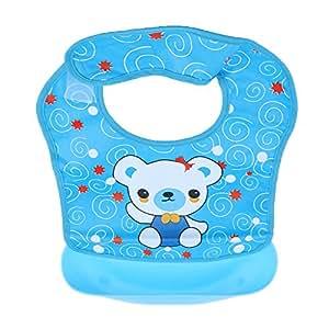 MagiDeal Baby Weiches Lätzchen mit auffangschale einfach zu reinigen, einstellbarem Halsband, BPA frei, Farbwahl - Stil 1