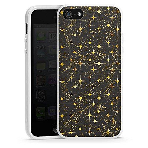 Apple iPhone 4 Housse Étui Silicone Coque Protection Or Paillettes Étoiles Housse en silicone blanc