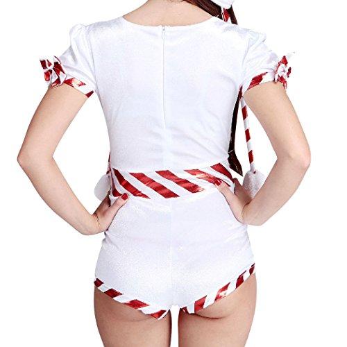 VENI MASEE Frauen sexy geheimen Sankt-Kostüm / Frau Fräulein Weihnachten Kostüm Kostüm Outfit , Weiß, M Weiß